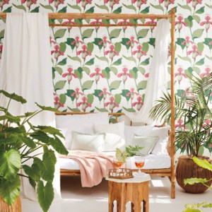 NV5525 York Wallcoverings Modern Heritage: Designed to Inspire 125th Anniversary Edition Lady Slipper Wallpaper Coral Room Setting