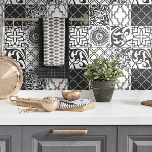 NW30300 Seabrook Wallcoverings NextWall Graphic Tile Peel and Stick Wallpaper Black and White Kitchen Close Up