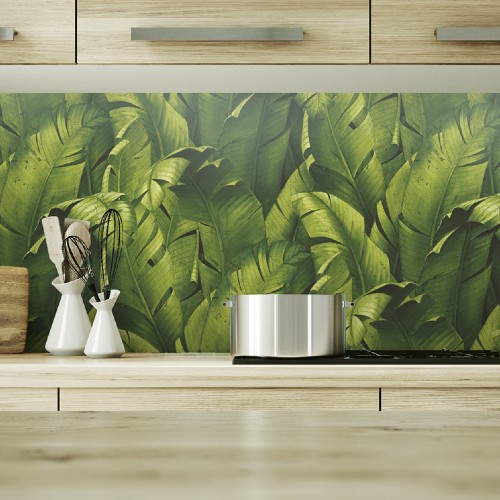 NW31000 Seabrook Wallcoverings NextWall Tropical Banana Leaves Peel and Stick Wallpaper Green Kitchen Close Up