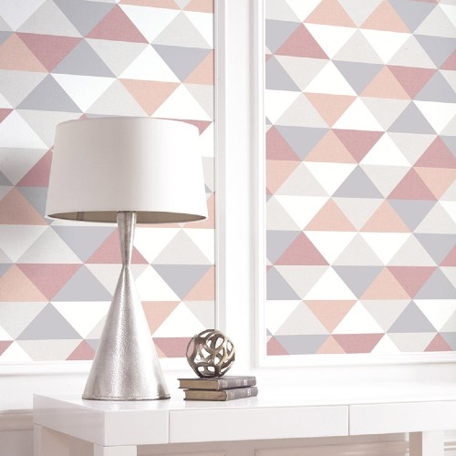 NW31100 Seabrook Wallcoverings NextWall Mod Triangles Peel and Stick Wallpaper Multi-Color Close Up