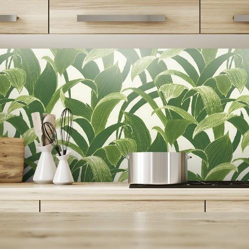 SEA-Seabrook Wallcoverings NextWall Banana Groves Peel and Stick Wallpaper Green Kitchen Close Up