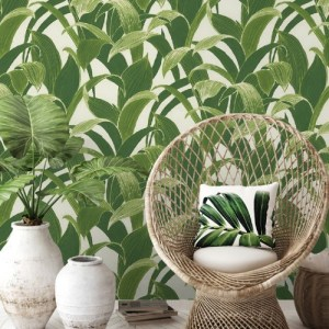 SEA-Seabrook Wallcoverings NextWall Banana Groves Peel and Stick Wallpaper Green Room Setting