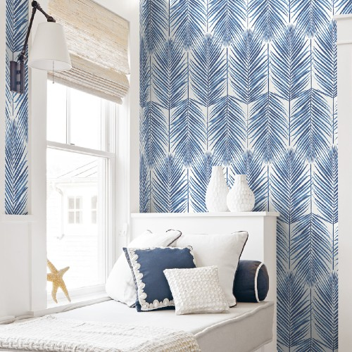 NW33002 Seabrook Wallcoverings NextWall Paradise Palm Peel and Stick Wallpaper Blue Room Setting