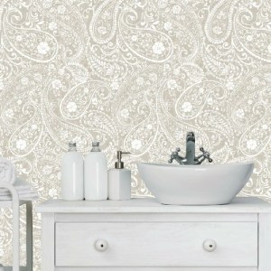 RMK11580RL York Wallcoverings RoomMates Paisley Prince Peel and Stick Wallpaper Beige Room Setting