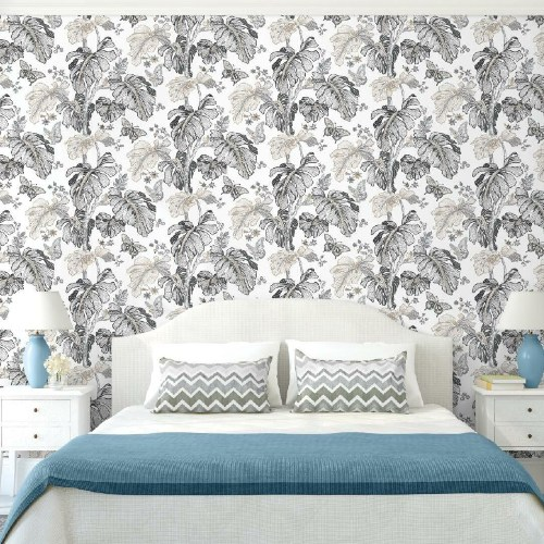 RMK11586RL York Wallcoverings RoomMates Boho Palm Peel and Stick Wallpaper Grey Room Setting