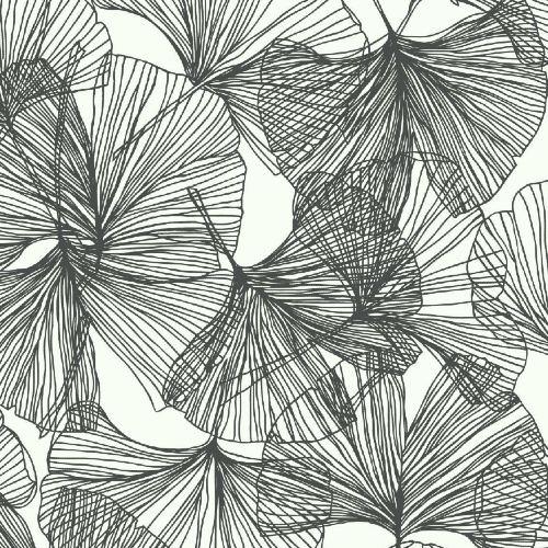 RMK11601WP York Wallcoverings RoomMates Gingko Leaves Peel and Stick Wallpaper Black