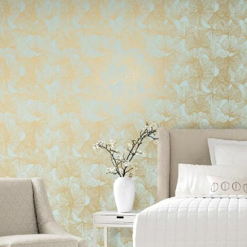 RMK11602WP York Wallcoverings RoomMates Gingko Leaves Peel and Stick Wallpaper Gold Room Setting