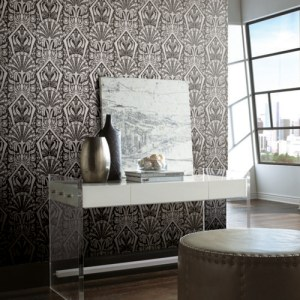 NV5533 York Wallcoverings Modern Heritage 125th Anniversary Edition Zelda Wallpaper Black Room Setting