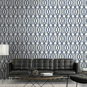 NW31502 Seabrook Wallcoverings NextWall Deco Lattice Peel and Stick Wallpaper Navy Room Setting