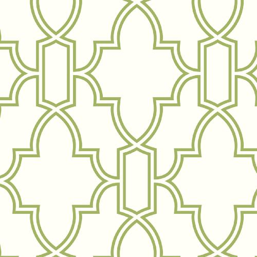 NW31604 Seabrook Wallcoverings NextWall Tile Trellis Peel and Stick Wallpaper Green and White