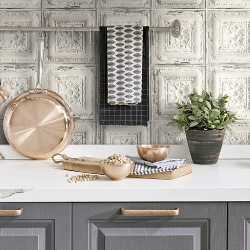 NW32100 NW32100 Seabrook Wallcoverings NextWallpaper Distress Tin Tile Peel and Stick Wallpaper White Kitchen Close Up
