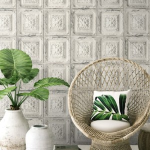 NW32100 Seabrook Wallcoverings NextWallpaper Distress Tin Tile Peel and Stick Wallpaper White Room Setting
