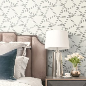 NW32400 Seabrook Wallcoverings NextWall Railroad Geometric Peel and Stick Wallpaper White Room Setting