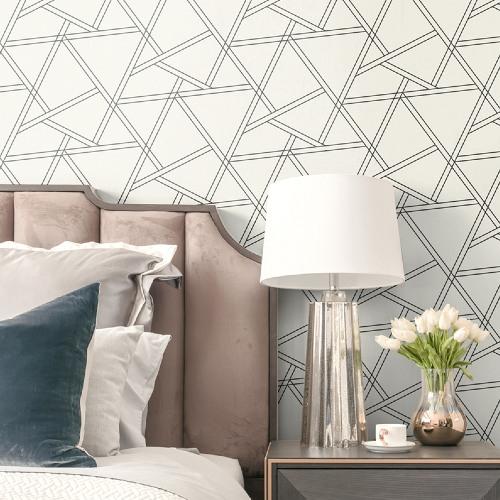 NW32400 Seabrook Wallcoverings NextWall Railroad Geometric Peel and Stick Wallpaper White Room Setting