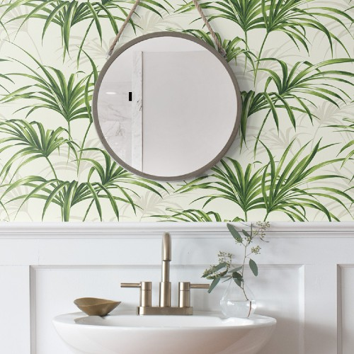 NW32504 Seabrook Wallcoverings NextWall Tropical Palm Leaf Peel and Stick Wallpaper Green Close Up