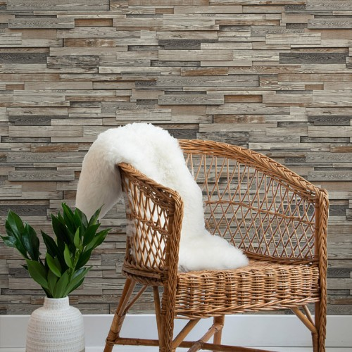 NW32601 Seabrook Wallcoverings NextWall Reclaimed Wood Plank Peel and Stick Wallpaper Grey Room Setting