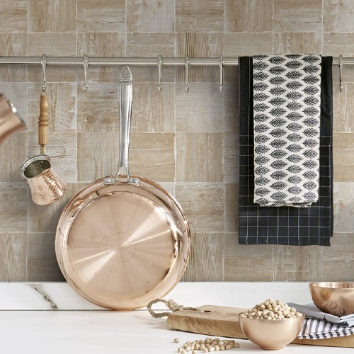 NW33408 Seabrook Wallcoverings NextWall Wood Block Peel and Stick Wallpaper Neutral Kitchen Close Up