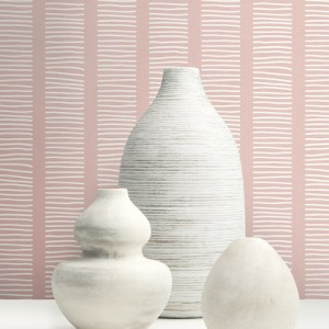MB30411 Seabrook Wallcoverings Beach House Coastline Stripe Wallpaper Pink Room Setting