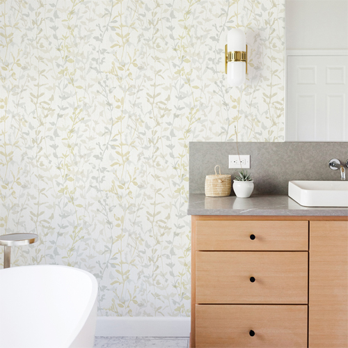 2964-25933 Brewster Wallcovering A Street Prints Scott Living Thea Floral Trail Wallpaper Light Grey Room Setting