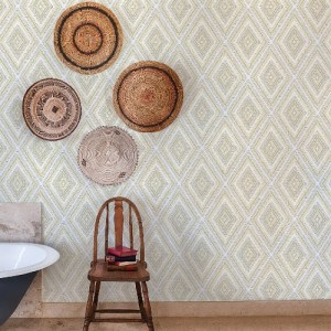 2969-26014 Brewster Wallcoverings A Street Prints Pacifica Zaya Tribal Diamonds Wallpaper Light Yellow Room Setting