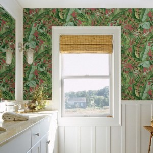 2969-26055 Brewster Wallcoverings A Street Prints Pacifica Alfresco Tropical Palm Wallpaper Coral Room Setting