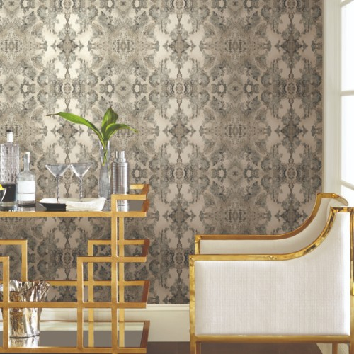 PSW1092RL York Wallcoverings Simply Candice Inner Beauty Peel and Stick Wallpaper Grey Room Setting