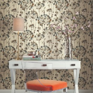 PSW1095RL York Wallcoverings Simply Candice Flourish Peel and Stick Wallpaper Teal Room Setting
