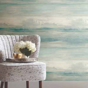 PSW1099RL York Wallcoverings Simply Candice Soothing Mists Scenic Peel and Stick Wallpaper Blue Room Setting