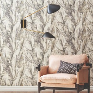 PSW1104RL York Wallcoverings Simply Candice Peaceful Plume Peel and Stick Wallpaper Charcoal Room Setting