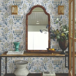 RI5108 York Wallcoverings Rifle Paper Co Camont Wallpaper Indigo Room Setting