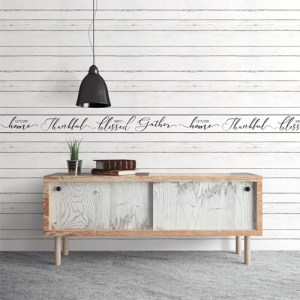 FH4007 York Wallcoverings Simply Farmhouse Lets Stay Home Border Black Room Setting