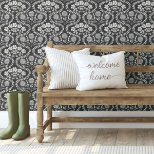 FH4022 York Wallcoverings Simply Farmhouse Folksy Floral Wallpaper Black Room Setting