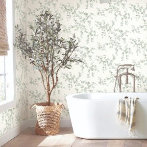 FH4037 York Wallcoverings Simply Farmhouse Creeping Fig Vine Wallpaper Sage Room Setting