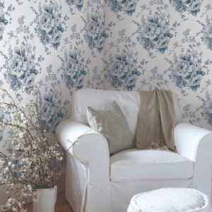 FH4087 York Wallcoverings Simply Farmhouse Heritage Rose Wallpaper Navy Room Setting