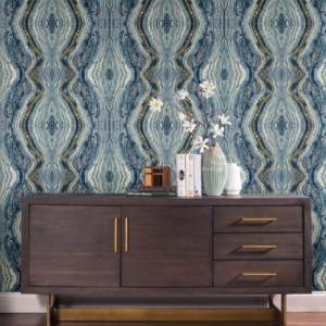 PSW1108RL York Wallcoverings Premium Peel and Stick Stonework Kaleidoscope Peel and Stick Wallpaper Blue Room Setting