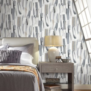 PSW1119RL York Wallcoverings Premium Stonework Taj Marble Peel and Stick Wallpaper Grey Room Setting