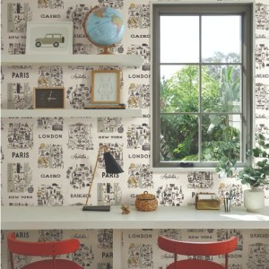 YK-RI5161 York Wallcoverings Rifle Paper Co City Maps Wallpaper Grey Room Setting