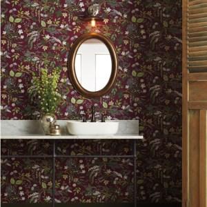 RI5164 York Wallcoverings Rife Paper Co Juniper Forest Wallpaper Burgundy Room Setting