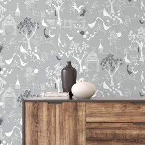 NW34308 Wallquest Wallcoverings NextWall Rise and Shine Peel and Stick Wallpaper Gray Room Setting