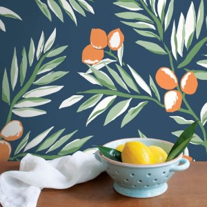 NW36702 NextWall Citrus Branch Peel and Stick Wallpaper Navy Room Setting