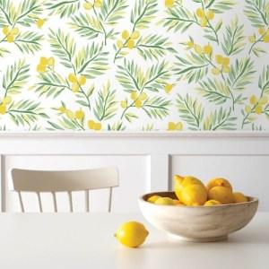 NW36703 NextWall Lemon Branch Peel and Stick Wallpaper Lemon Room Setting