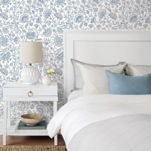 NW36812 NextWall Paisley Trail Peel and Stick Wallpaper Midnight Blue Room Setting