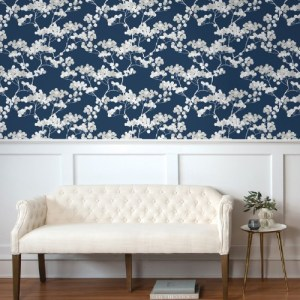 NW37202 NextWall Cyprus Blossom Peel and Stick Wallpaper Navy Blue Room Setting