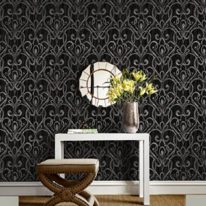 1301800 Seabrook Wallcoverings Etten Black and White Paisley Damask Wallpaper Black Room Setting