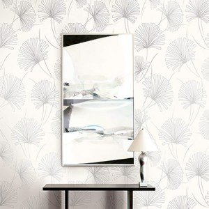 1302400 Seabrook Wallcoverings Etten Black and White Palm Wallpaper White Room Setting