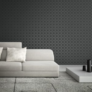 1820900 Seabrook Wallcoverings Etten Black and White Oerlikon Dotted Circle Wallpaper Black Room Setting