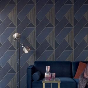 395834 Brewster Wallcoverings Eijffinger Bold Art Deco Glam Geometric Wallpaper Dark Blue Room Setting