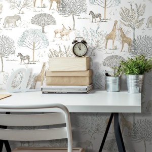 PSW1212RL York Wallcoverings Whimsy On the Savanna Peel and Stick Wallpaper Neutral Room Setting
