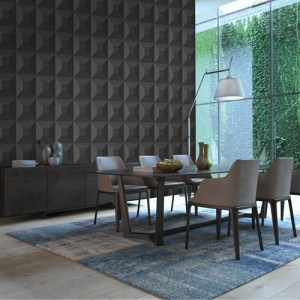TC70600 Seabrook Wallcoverings More Texture Squared Away Wallpaper Jet Black Room Setting