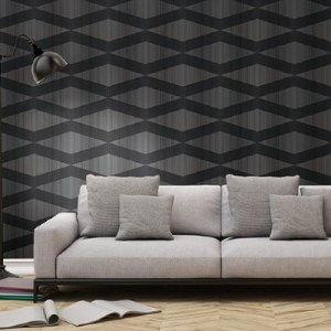 ZN51100 Seabrook Wallcoverings Etten Black and White Nakameguro Diamond Wallpaper Black Room Setting